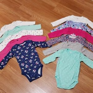 Long sleeve Onesies lot for baby girl 11 pieces